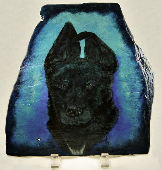 Custom Pet Painting in Acrylics on Irregular Slate, OOAK Painting, Custom Slate Art, Part of Sales Proceeds Supports Animal Charity
