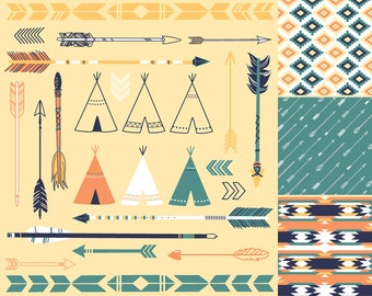 Arrows, Teepee Tents and tribal digital papers - Indian Clip art for scrapbooking, wedding invitations, Personal and Small Commercial Use.