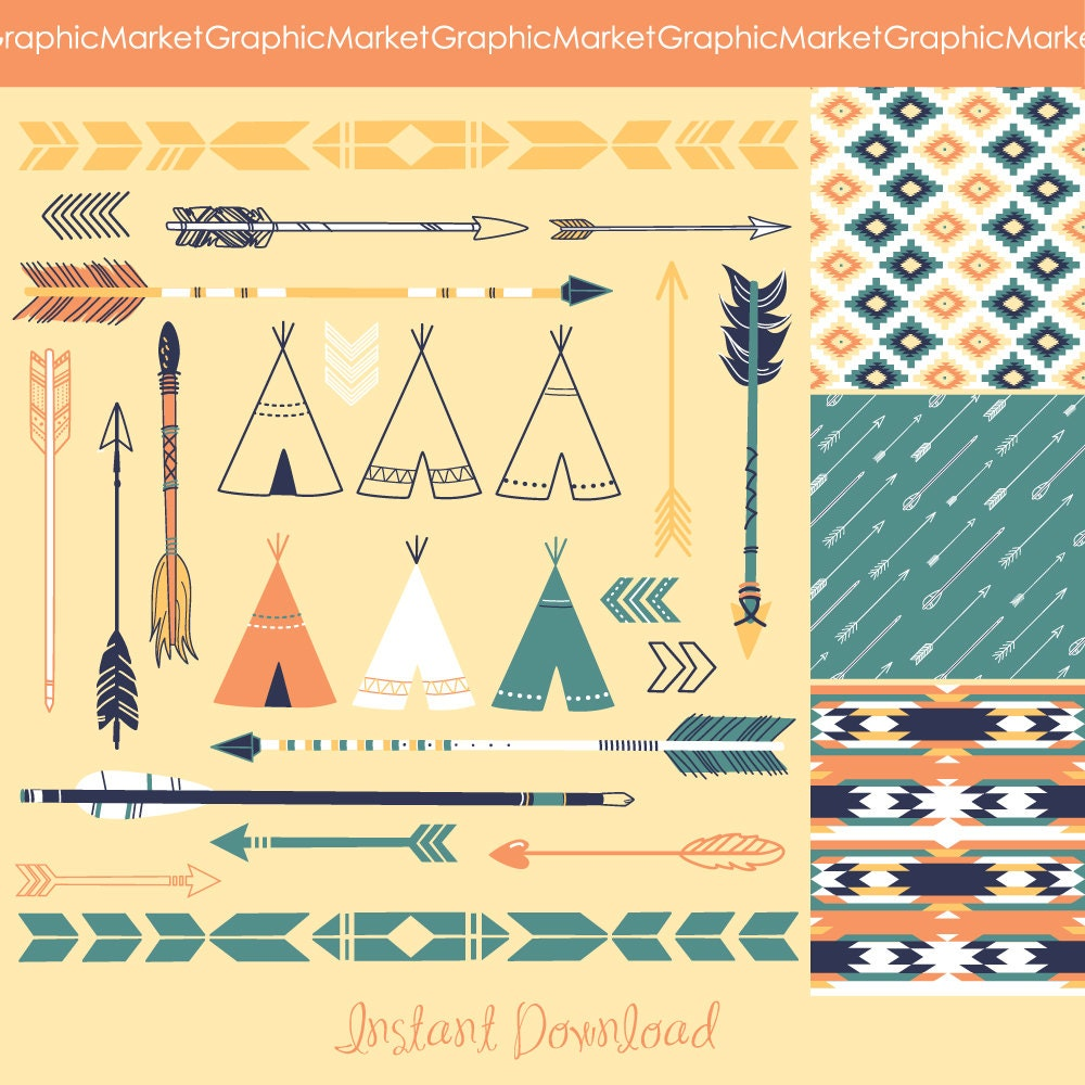 Arrows Teepee Tents and tribal digital papers by GraphicMarket