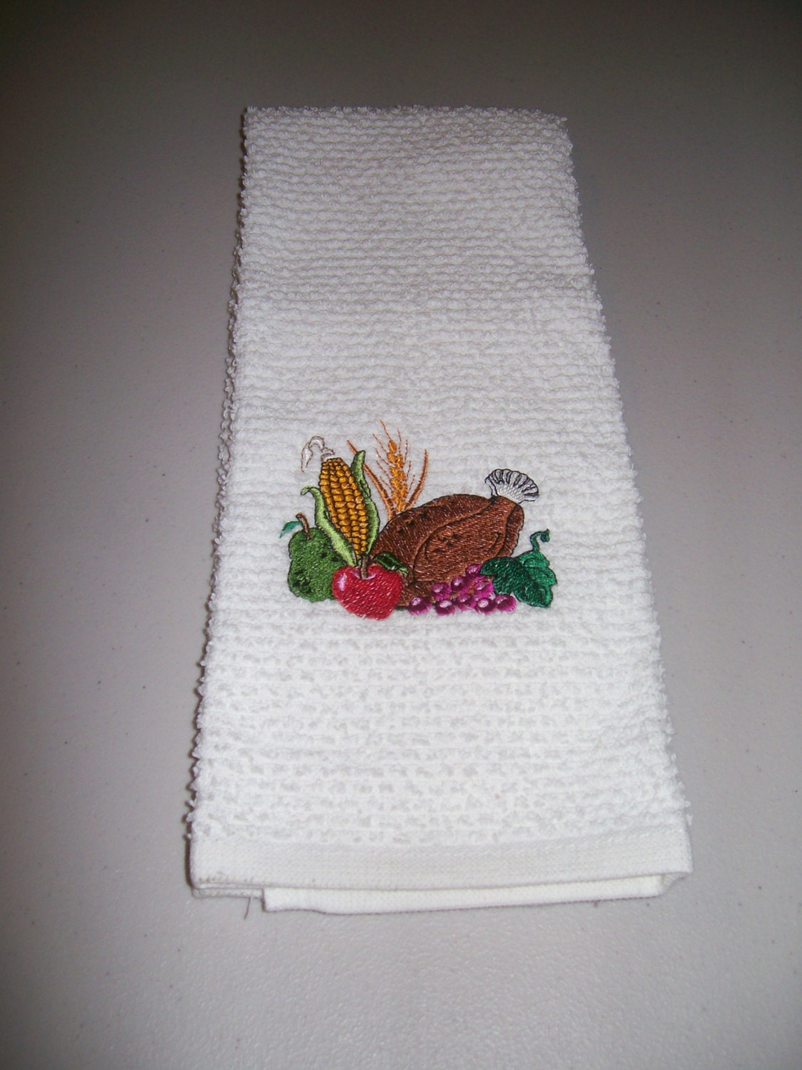 Thanksgiving Embroidered Kitchen Towel With Embroidery