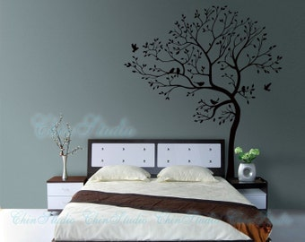 Tree Wall Decals Wall Stickers-Living room wall decals-Lucky Tree with birds wall decal home decor