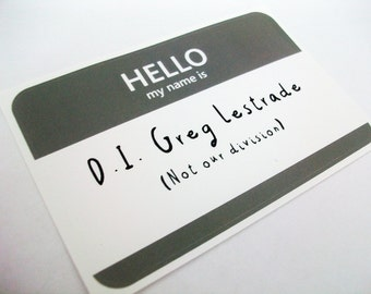 D.I. Greg Lestrade Sherlock Name Tag Sticker