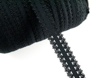 "3/4"" Frilly Edge Elastic - Black Color - Elastic Tape - Frilly Elastic - Black Frilly Edge Elastic -Hair  Accessories and Craft Supplies"