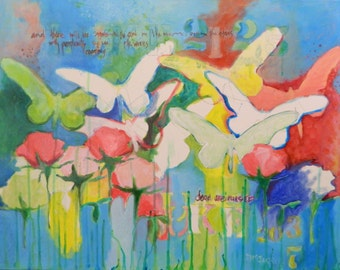 Original Abstract Expressionist Painting with Bible Text ,Rose & Butterfly