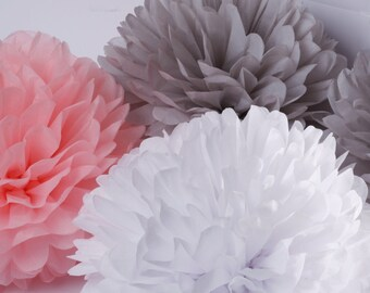 ON SALE..Tissue Paper Pom Poms - Set of 6  Poms- Weddings//Decorations//Bridal//Nursery// Girl Baby Shower
