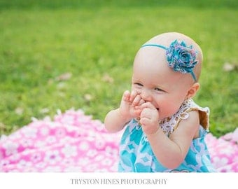 Baby Girl Headband, Skinny Elastic Headband, Teal Paisley Headband, Photography, Teal Headband, Teal Outfit for Girls