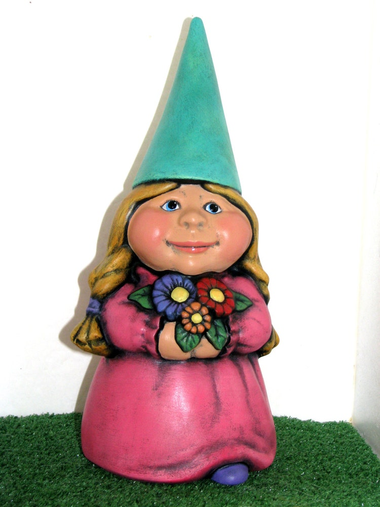 Female Garden Gnomes: Ceramic Female Garden Gnome 11 Inches Hand Painted By