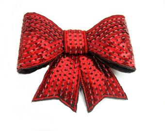 Red Hair Bow, Sequin Hair Bow, Valentine Hair Bow, Christmas Hair Bow, Large Sequin Bow, Hair Clip, Women Accessory, Girls Hairbow Hairclip