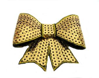 Gold Sequin Hair Bow, Gold Hair Bow, Glitter Hair Bow, Sparkle Hair Clip, Hairbow, Hair Clip, Hair Accessories