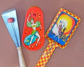 Tin Litho Noise Makers // Vintage Party Noise Makers // Dancers Set of 3