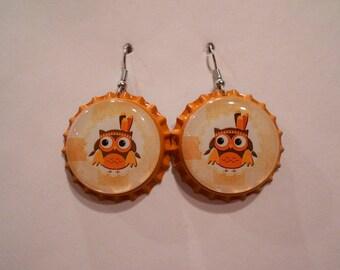 Thanksgiving Owl bottle cap earrings