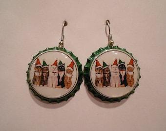 Christmas Cats bottle cap earrings