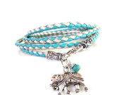 Sacred Elephant Leather Wrap Bracelet Turquoise Bohemian Braided Yoga Jewelry Unique Gift For Her Stocking Stuffer Under 50 Item P17