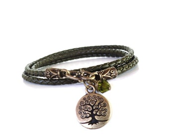 Tree of Life Leather Wrap Bracelet Yoga Jewelry Olive Green Unique Bohemian Gift For Her Christmas Stocking Stuffer Under 50 Item P14