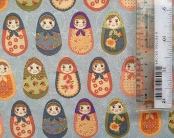 Colourful babushkas cotton fabric fat quarter