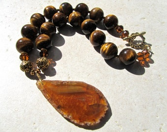 Chunky Statement Necklace, Tiger Eye, Huge Agate Pendant, Natural Stone, Big and Bold  572