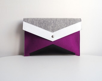 Purple Gray White Black Felt Leather Clutch Bag