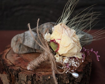 Romantic Rustic Wedding Grooms Boutonniere, Country Chic, Dried Flower Boutonniere, Blush Boutonniere, Peony Boutonniere with Wild Flowers