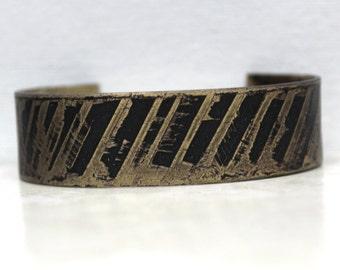 Brass etched cuff, etched brass cuff, rustic etched cuff, rustic bracelet, boho cuff, boho style, rustic jewelry, oxidized jewelry