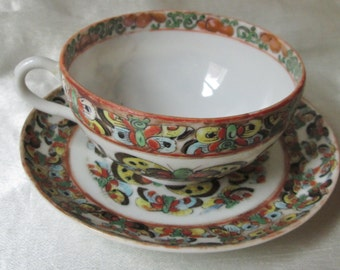 1920s Japanese Hand Decorated Tea Cup and Saucer, Multi-colored Butterfly Motif. Collectible, Housewarming Gift, Wedding Gift