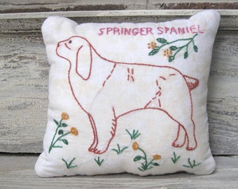 Vintage Embroidery Pillow with Quilt Backing -  Springer Spaniel