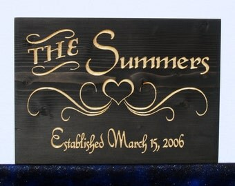 Personalized Carved Wooden Wedding-Family-Last Name-Anniversary Sign