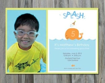 Swim Party Birthday Invitation, Printed Invitation or Digital File, Party Printable ,DIY, Pool Party, Photo Invitation, Whale, Sea Life
