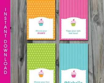 INSTANT DOWNLOAD Editable Cupcake Party Buffet Table Cards - Printable Buffet Cards, Edit Yourself in Adobe Reader 11.0