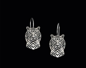 Tiger earrings - sterling silver.