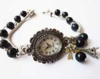 Fleur de Lis - silver nostalgic Wrist Watch with black pearls, Fleur de Lis, Eiffel Tower, silver jewelry, antique, vintage Style