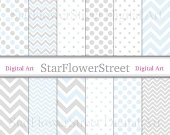 Chevron Polka Dot Baby Blue Digital Paper Scrapbook Background - patterns soft baby blue grey gray scrapbooking DIY baby shower invitation