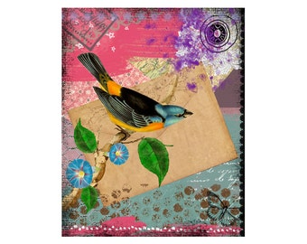 Blue Bird Art Print -  Colorful Art  - Mixed Media Collage - Painting
