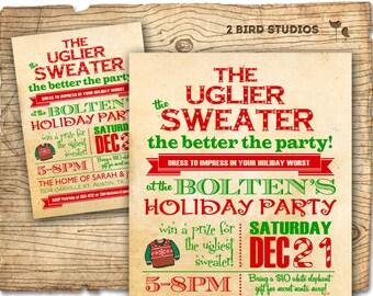 Holiday party invitation - Ugly Sweater Christmas party invitation - DIY holiday party invite- ugly sweater invitation