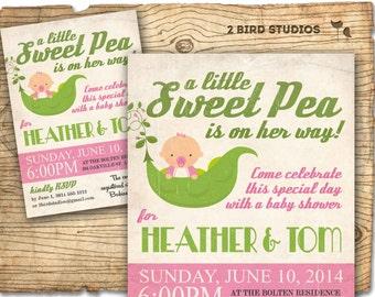 Little sweet pea baby shower invitation - girl baby shower invite - sweet pea coed baby shower or girl printable invitation
