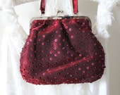 Red,marsala  beaded sequin evening bag wedding bridal