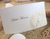 10 Golden Wedding Place Cards / Escort Cards, Embossed, Guest Info Printed, Sand Dollar with Pearl, CUSTOMIZE ANY COLOR