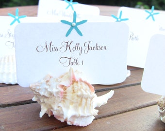 10 Starfish Place Cards / Escort cards, Beach Desination Wedding Cards, Name Printing Included, Customize Your Color