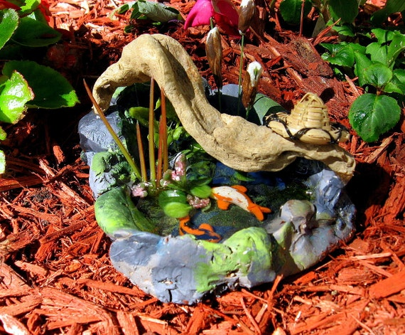 Fairy garden miniature koi pond by happyliltree on etsy for Miniature fish pond