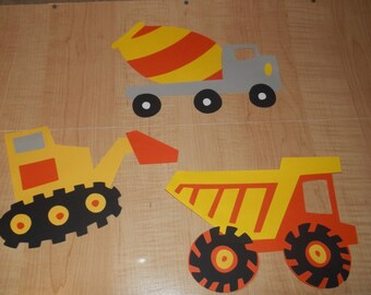 3 PCS - Boys Cricut Cartridge Beep Beep Construction Cement  Dump Truck Orange Yellow Scrapbooking Paper Die Cuts Set - Sale - Made To Order