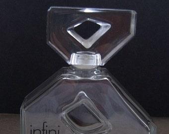 Vintage 1980s MODERNIST Caron Infini ASYMETRICAL French Crystal Glass Perfume Bottle..ABSTRACT Open Diamond Stopper..Retro Mod Minimalist