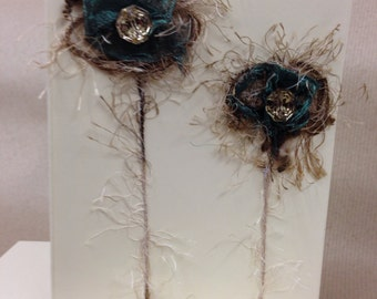 Wool and fabric flower machine appliqué card