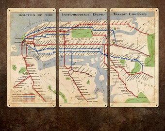 """Vintage Map of New York Subway Metal Triptych 54x36"""" FREE SHIPPING"""