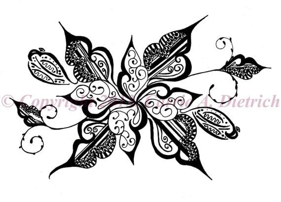 noir et blanc art plume et encre fleur design illustration