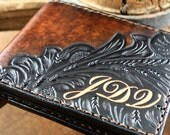 Hand-tooled Italian Leather Wallet for man. Carefully hand-crafted in Italy. Personalized with initials or name without extra cost.