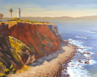 Lighthouse - Palos Verdes - California - Lansdscape - Cliffs - Ocean - All Clear - Seascape - Oil Painting - Point Vicente - Plein Air -Sea