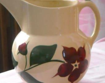 Watt Pottery Pitcher #17 Crooksville Ohio 1950's Starflower Hand Painted Pattern
