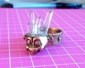 Troll head ring with crystal hair. bronze