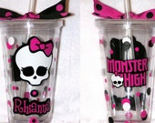Personalized Custom Acrylic Tumbler Cup w/ Straw Polka Dots Monster High Skull