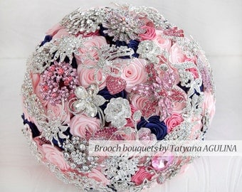 Brooch bouquet. Pink, Navy Blue and Silver wedding brooch bouquet, Jeweled Bouquet. Made upon request