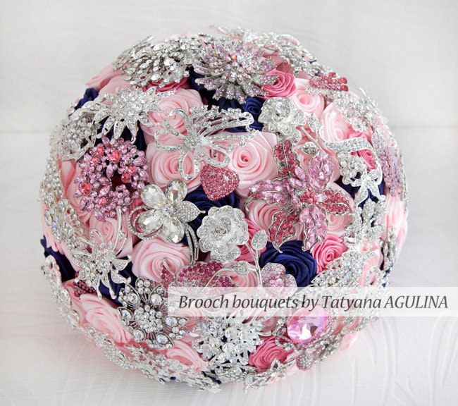 Brooch bouquet. Pink Navy Blue and Silver wedding brooch